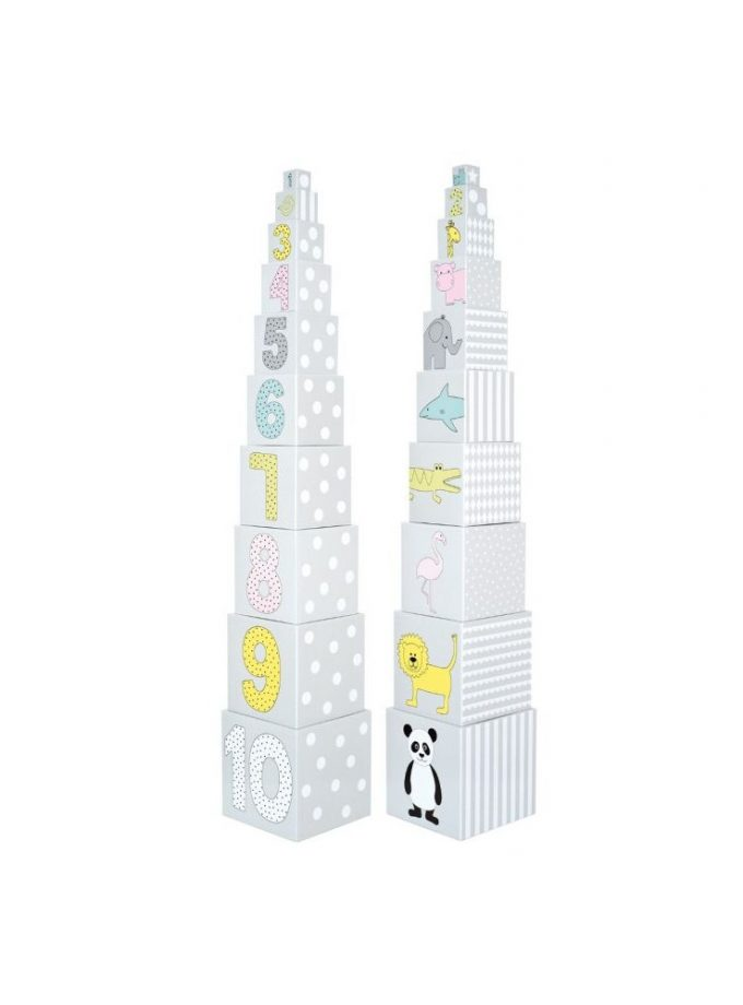 Kaladėlių bokštas su gyvūnais