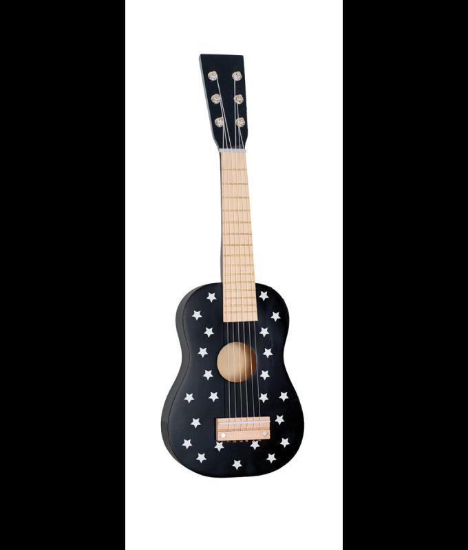 Medinė juoda gitara su žvaidždutėmis