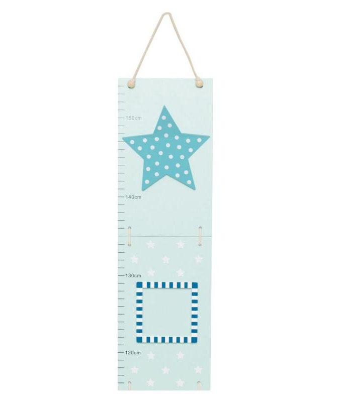 Medinė mėlyna ūgio matuoklė Žvaigždė