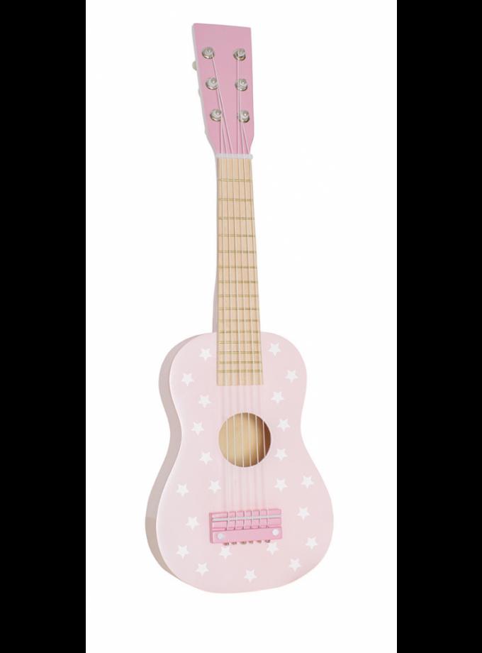 Medinė rožinė gitara su žvaigždutėmis