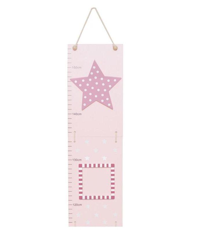 Medinė rožinė ūgio matuoklė Žvaigždė