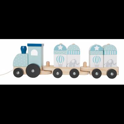 Medinis mėlynas traukinukas su kaladėlėmis