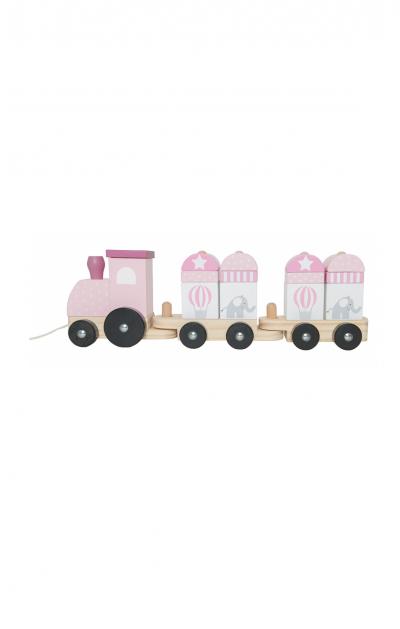 Medinis rožinis traukinukas su kaladėlėmis