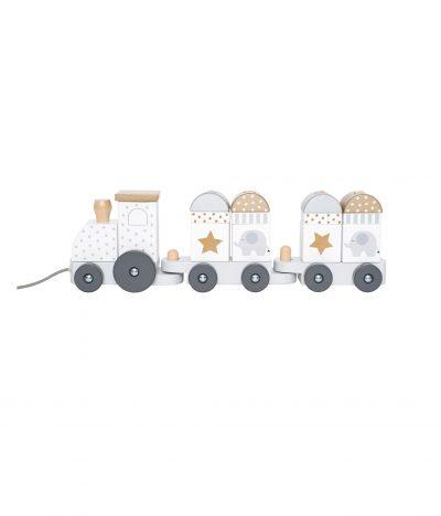 Medinis sidabrinis traukinukas su kaladėlėmis