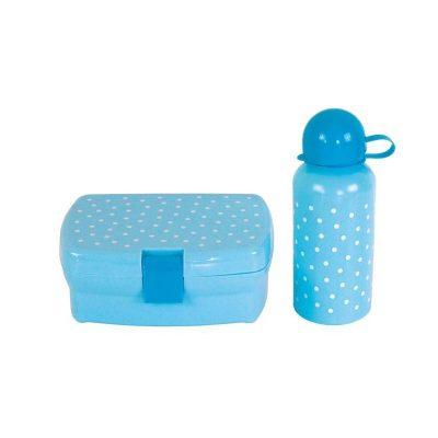 Mėlyna priešpiečių dėžute su gertuve