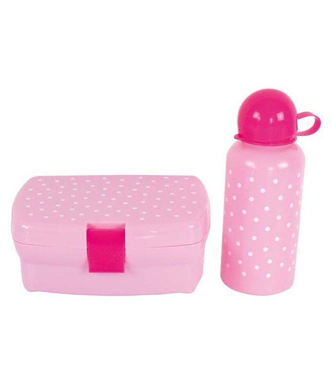 Rožinė priešpiečių dėžute su gertuve