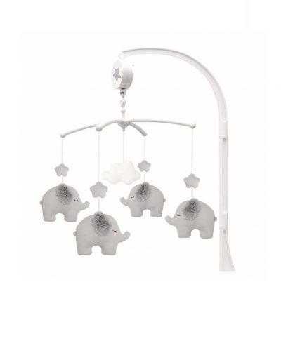 Muzikinė pilka karuselė su drambliukais