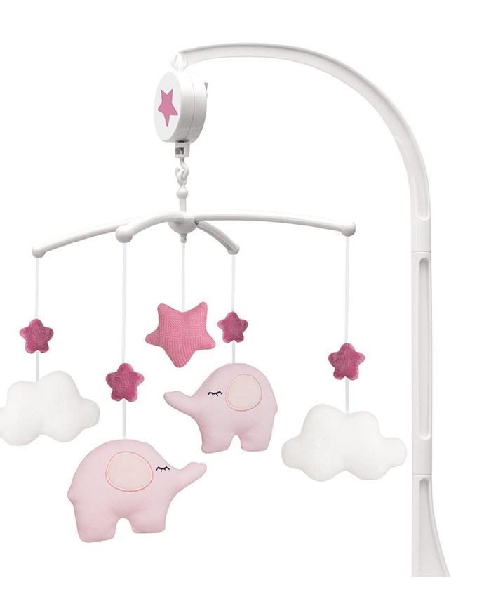 Muzikinė rožinė karuselė su drambliukais