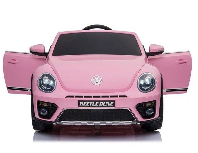 Rožinis elektromobilis vaikams Volkswagen Beetle