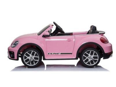 Rožinis vaikams elektromobilis Volkswagen Beetle