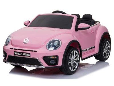 Rožinis elektromobilis Volkswagen Beetle