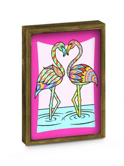 Dviejų dalių piešimo smėliu rinkinys su rėmeliais Flamingas/Drugelis