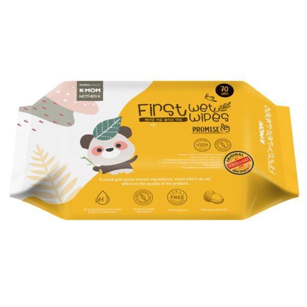 "K-MOM organiškos drėgnos servetėlės ""Panda"" (70 vnt.)"